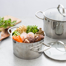 housewives creative pot 304 stainless steel milk pan thickened compound bottom pot soup pot general electric burning pot(China)