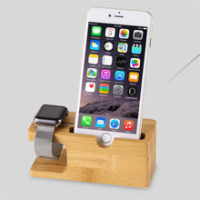2017 Newest for i Watch/iPhone 6 Charging Holder Stand, Natural Bamboo Wood Charge Station Charging Dock Cradle Stand Holders