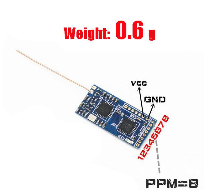 LANTIAN 2.4G Super mini FPV Receiver with FLYSKY 8 channels protocol PPM Signal output Micro Receiver for kvadrokopter<br>