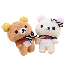 1Pair 11cm Kawaii Lover Rilakkuma Bear Plush Stuffed TOY , Soft Figure DOLL , Key Chain Design; Relax Bear BAG Pendant Charm TOY