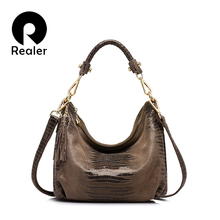 REALER brand women genuine leather bags female lizard pattern shoulder bag  high quality ladies handbag with tassel
