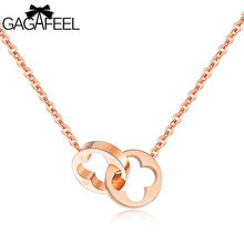 GAGAFEEL Lucky Grass Double Loop Interlock Necklace For Women Jewelry Stainless Steel Rose Gold Chain Pendant Lover's Gift(China)