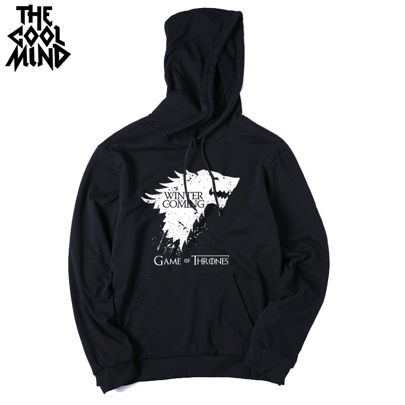 THE COOLMIND Top quality cotton blend game of thrones men hoodies casual winter is coming house of stark men sweatshirt with hat 6