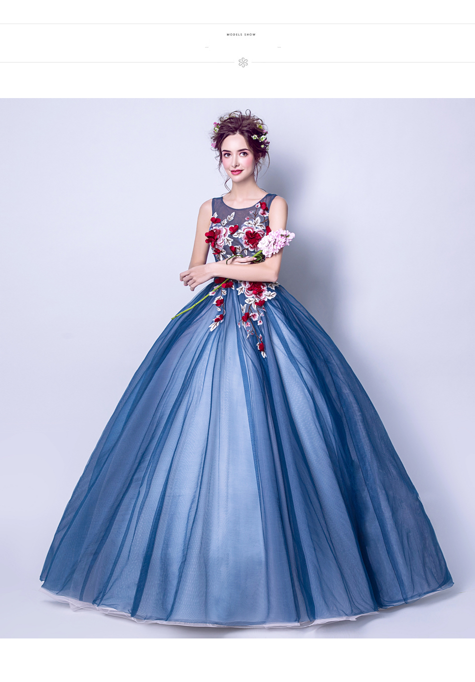 Angel Wedding Dress Marriage Evening Bride Party Prom Bridal Gown Vestido De Noiva Blue camouflage, fantasy flowers 2017 7572 9