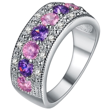 Exquisite Women Jewelry Round Cut Pink & White Nice Silver Plated Band Ring Size 6 7 8 9 10 11 12 Wholesale Free Shipping