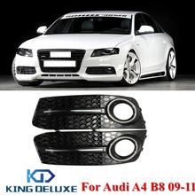 Left & Right Glossy Black Front Bumper Fog Lights Grill Foglamps Grille Cover For AUDI A4 B8 2009 2010 2011 #P178(China)