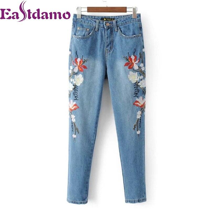 Eastdamo Flower Embroidery Jeans Women High Waist Denim Pants Female 2017 Casual Blue Boyfriends Jeans Slim Long TrousersÎäåæäà è àêñåññóàðû<br><br>