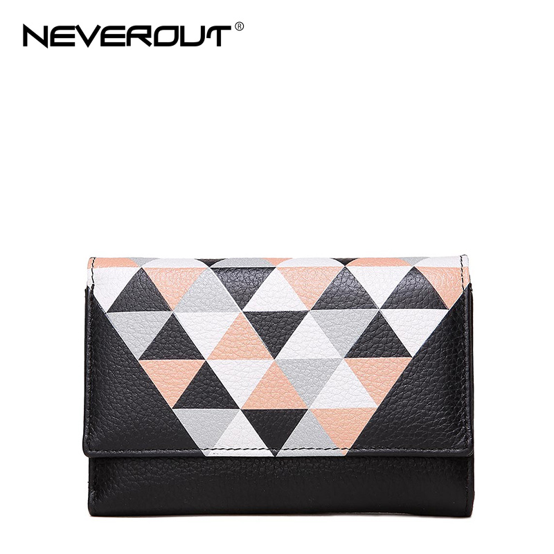 NeverOut New Design Women Wallets Genuine Leather Money Clip Fashion Color Stitching Quality Female Money Bags Long Purse Clutch<br>