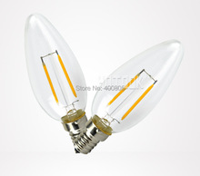 New Design 2.2W E14 110-240V LED Filament Candle Bulbs CRI 80 360 Degree Beam Angle Edison led bulb 10 Pcs Per Lot Free Shipping(China)