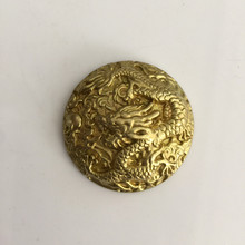Retail Wholesale New High Quality Screw Head 3.5cm Round Gold 3D Dragon Metal Buttons For Fashion Men Women Belt Bag Accessories