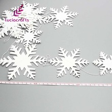Lucia Crafts 12pcs/lot 3m White Snowflake Christmas Tree Window Ornaments Party Hanging Snow Flake DIY Decoration 058001008(China)