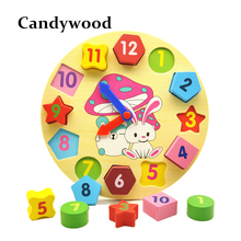Wooden Blocks toys Digital Geometry Clock Toy Children's Montessori Educational Toy For Baby Boy Girl Gift(China)
