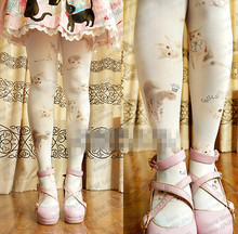 Buy Princess sweet lolita pantyhose Japanese super cute lolita many cats hook silk Double-sided printing pantyhose LKW103