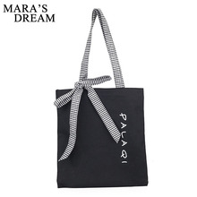 Mara's Dream 2017 Bowknot Shoulder Bag Women Canvas Handbags Black Shopping Bag Big Capacity Plaid Bow Casual Totes Ladies Bag