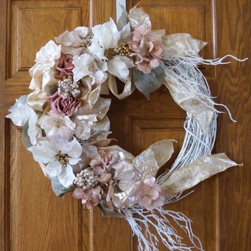 Christmas Wreath, Holiday Wreath, Winter Wreath, Gold Christmas Decor