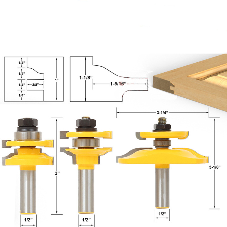 3pcs Bit Raised Panel Cabinet Door Router Bit Set with Bevel 1/2-Inch Shank for Woodworking Drilling Power Tools Wood Cutter<br>