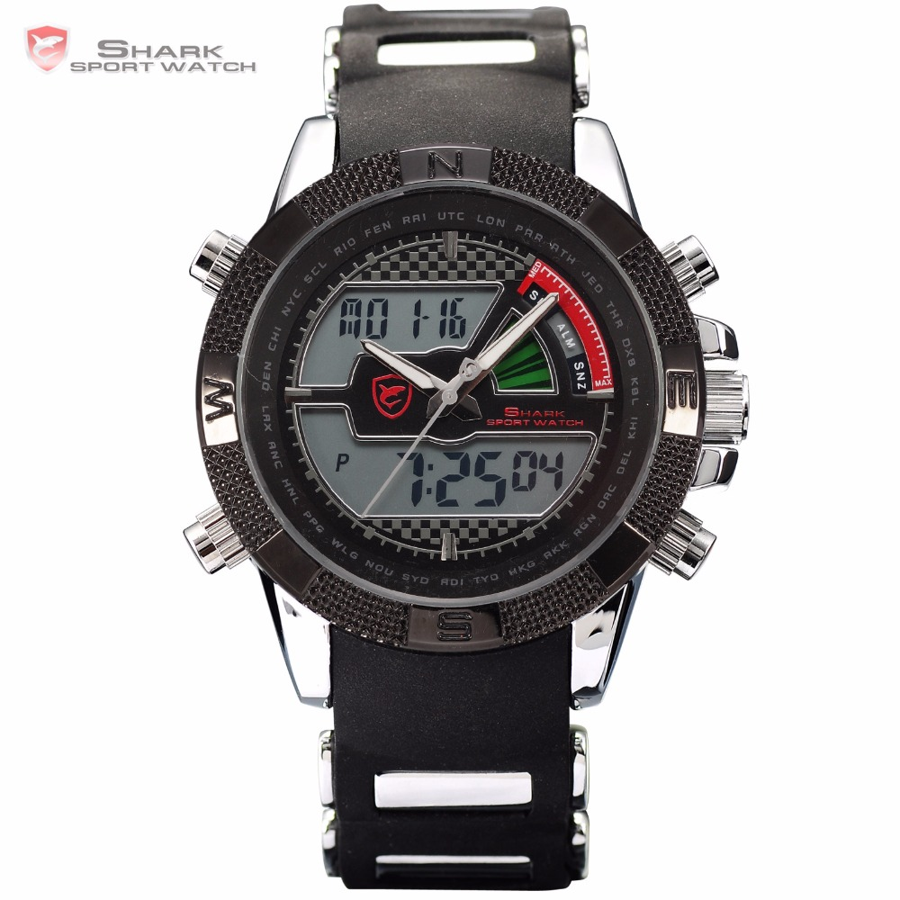 Porbeagle Shark Sport Watch Brand Digital LCD Dual Movement Silicone Date Alarm Stopwatch Red Quartz Military Men Watches /SH178<br>
