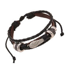 Punk Rock Angel Wings Bracelets Charm Hand Jewelry Genuine Leather Braided Men Bracelet Wristband Bangles Bead Strand Braclet