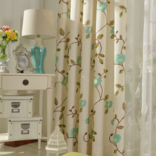 Modern simple fresh style flowers embroidered curtains decorated living room, bedroom balcony curtain color custom