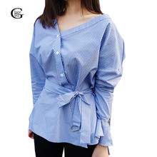 Lace Girl 2017 New Women Blouse V-neck Shirts Wrap Top Off Shoulder Long Sleeve Elegant Bow Striped Women Tops Blusas