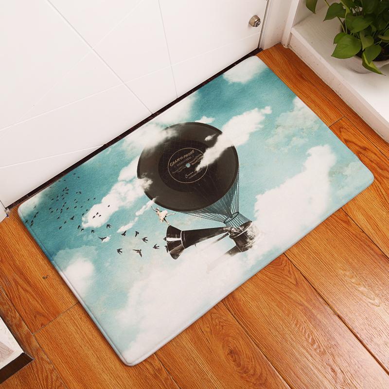 Flannel Floor Mats Hot Air Balloon Printed Bedroom Living Room Carpets  Cartoon Pattern Mat For Hallway Anti Slip Tapete   Us294