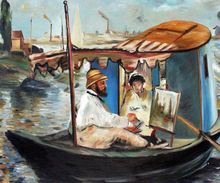 Famous Artist Painting Claude Monet Working on his Boat in Argenteuil by Edouard Mane Landscape Oil Painting Wall Decor