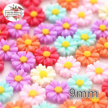 100pcs 9mm Mixed Color small daisy flower resin flatback cabochon DIY jewelry/phone decoration No Hole(China)