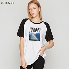 ladies unif hell is people letter T-shirts rainbow Tee shirt loose women T shirts japanese camisetas korean tops tee drop ship(China)