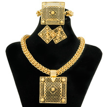 China Guangzhou Women Jewelry Dubai Gold Square Pendant Big Fashion Necklaces Earrings Jewelry Sets African Bridal Accessories(China)