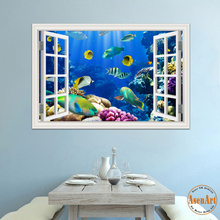 3d Wall Sticker Removable Underwater World Fish Wall Decals 3D Window View Wallpapers for Living Room Wall Art Decal Home Decor(Hong Kong)
