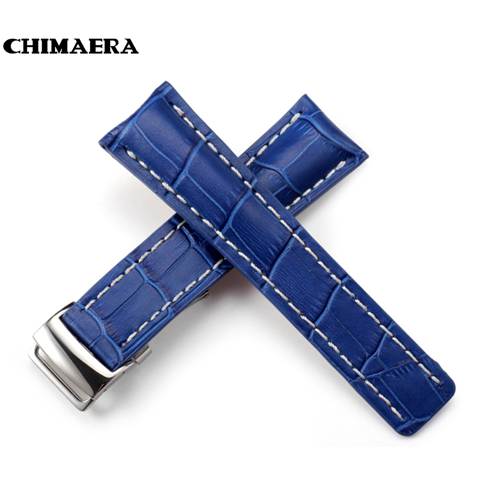 CHIMAERA Handmade 22mm 24mm Crocodile Grain Genuine Italy Leather Blue Watch Strap with Clasp Buckle for Breitling Watch Band<br>