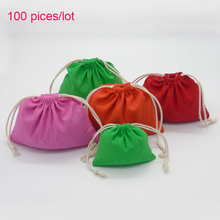 Free DIY Customized Own Logo Drawstring Storage Bags Colorful Cotton Gift Shoes Packing Bags Party Decoration