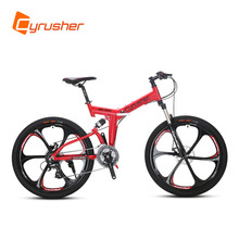 Buy RD100 Red Mans Womans Folding Mountain Bike Bicycle 6061 Aluminium Frame Full Suspension 24 Speeds Double Disc Brakes for $685.00 in AliExpress store