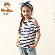 PATEMO Kids Striped T-shirts Summer Knitted Cotton Children Girls Clothes 4T~10T Kids US Size O-Neck Hollow Out Sleeve t shirts