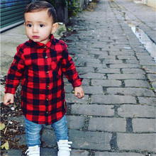 Baby Kids Blouses  Boys Clothes Girls Long Sleeve Shirt Plaids Checks Tops Blouse Outfit
