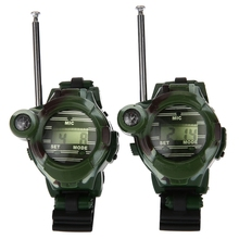 2pcs 7 In 1 Walkie Talkie Watch Camouflage Style Children Toy Kids Electric Strong Clear Range Interphone Kids Interactive Toys(China)