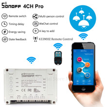 Sonoff 4CH Pro Smart Home RF Wifi Light Switch 4 Gang 3 Working Modes Inching Interlock Self-locking Wifi Switch Work With Alexa