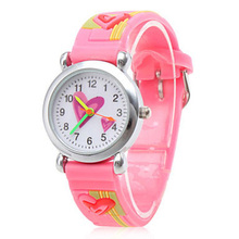2017 New Pink 3D Lovely Cute Kids Girls Watches Children Silicone Band Watch Montre Enfant Waterproof Girls Clock Kids Cartoon