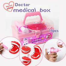 15pcs/set doctor series play set,children role play game dental clinic simulation medical kit,funny educational toys best gift(China)