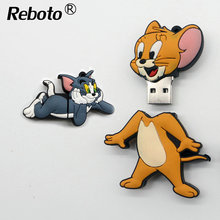 Funny Tom cat usb flash drive mouse jerry pen drive 4GB 8GB 16GB 32GB Memory Stick Creative pendrive 64GB U disk for tablets(China)