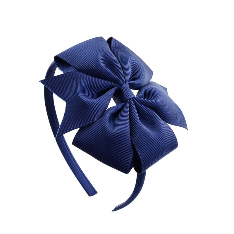 2 Pcs 4inch Baby Hair Band With Solid Ribbon Bow For Kids Girls Accessories