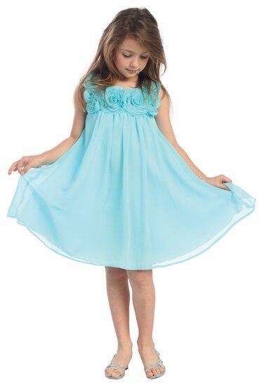 Kids Summer Dress Pink Chiffon Applique Baby Knee Length Beach Wedding Rosette First Communion Gowns Flower Girl Dress 1-12 Old<br><br>Aliexpress