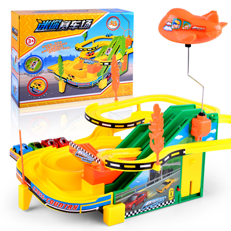 Hot Wheels Track Car Toy with escalator and Helicopter Electric Music Track Racing Car kids train track model slot Toy Gifts(China)