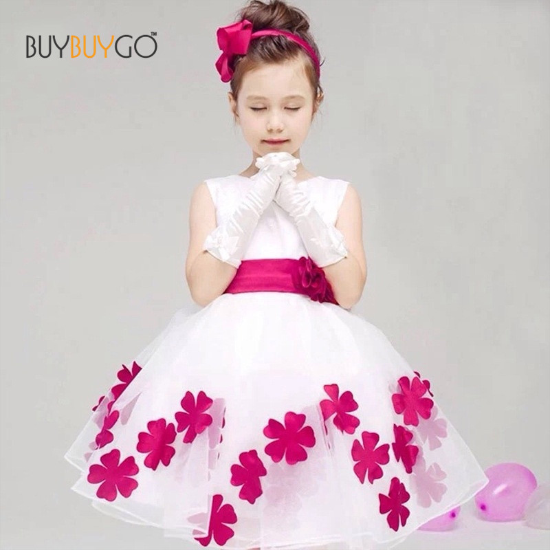 Sweet Flowers Girls Dress Summer Fashion Sleeveless Knee-length Gauze Ball Gown Floral O-neck New Party Princess Voile Dresses<br><br>Aliexpress