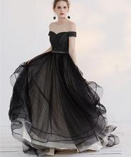 2017 New Black Gothic Wedding Dresses Off the Shoulder Pleats Tulle Ruffles Organza Corset Back Non White Bridal Gowns Custom