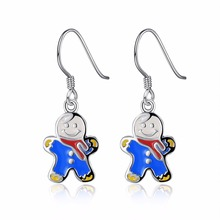 HERMOSA Jewelry new Christmas gift snowman pattern silver enamel process 2 color selection earrings LKNSPCE836(China)
