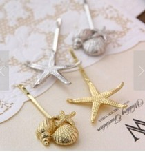 Korean Stylish retro gold silver metal shell starfish hairpin side clip hair accessories for women Free Shipping(China)