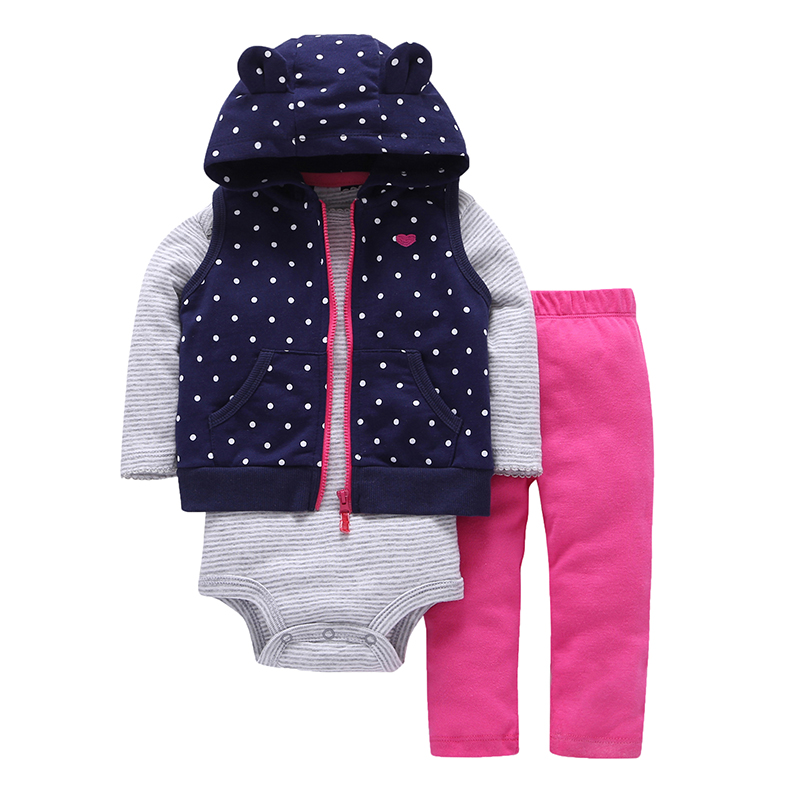 2018 spring baby girl cute dot hooded vest+Long sleeve stripe romper+ pink pants 3 piece clothing set newborn baby boy outfits