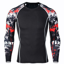 NEW Long Sleeve Skin Rash Guard Complete Graphic Compression Shirts Multi-use Fitness MMA Tops Shirts(China)