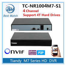 Tiandy 4CH NVR TC-NR1004M7-S1 1080P Support Onvif p2p and 1pc of 4T Hard Disk Network Video Recorder(China)